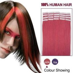 24 Inches Pink 20pcs Tape In Human Hair Extensions by ALIHAIR. $81.22. 200-300strands are recommended for whole head.. High quality, tangle free, silky soft.. 100% Real remy human hair.. Can be washed, heat styled.. APPLICATION:1.Wash and condition the hair thoroughly. After washing, blow dry the hair so that it is straight with no styling products (do not grease or saturate the hair with any other oils). 2.Depending on the style of the extensions,For example, ...