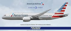 American Airlines Boeing 787-8 Dreamliner N800AN Artwork American Airlines Boeing 787 Dreamliner N800AN Artwork Airliners Illustrated® by Nick Knapp©.