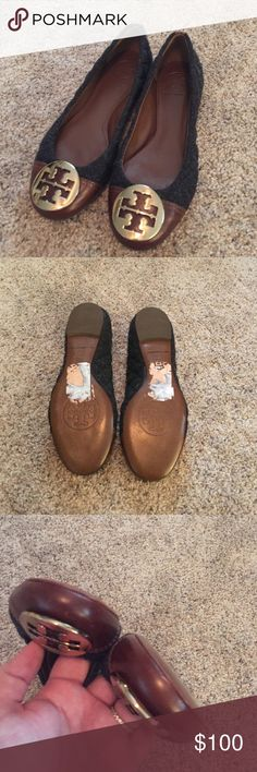 Tory Burch Tweed Flats Size 7 Tory Burch grey tweed flats with brown leather accents. Only worn a couple of times and in excellent condition. Tory Burch Shoes