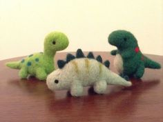 This set of 3 adorable needle felted dinosaurs is handmade with love out of 100% natural wool. The set includes a Brontosaurus (aka