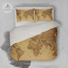 Vintage world map bedroom decor vintage map bedding set this is a vintage map bedding vintage old map duvet cover antique map of the world queen gumiabroncs Choice Image
