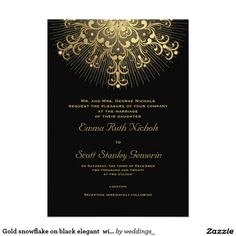 Gold snowflake on black elegant  winter wedding 5x7 paper invitation card