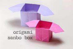 Sanbo Box Instructions Origami Sanbo Box Instructions - Easy and Quick for Kids!Origami Sanbo Box Instructions - Easy and Quick for Kids! Origami Lily, Cute Origami, Origami Star Box, Kids Origami, Origami Folding, Origami Ideas, Easy Origami Box, Origami Candy, Paper Folding