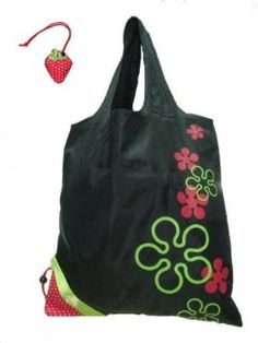 Amazon.com: Reusable Shopping Tote Bag - Folded into a Strawberry - Black: Kitchen & Dining