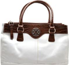 #GianiBernini #Handbag, Leather Glaze Satchel White Brown Giani Bernini http://www.amazon.com/dp/B00IKV9EVW/ref=cm_sw_r_pi_dp_gnDItb0KM1VN4FX9