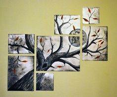 Multi canvas tree with moon painting on Etsy, $650.00