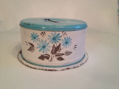 1970's Tin Turquoise Cake Carrier by WoWoRetro on Etsy, $15.00