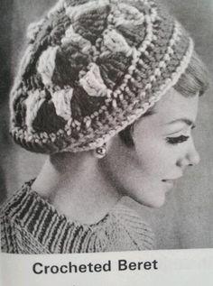 Vintage Crocheted Beret Hat Pattern by nostalgiarules Crochet Beret, Crochet Hooks, Knitted Hats, Vintage Crochet Patterns, Vintage Knitting, Sweater Knitting Patterns, Pattern Books, Craft Patterns, Winter Headwear
