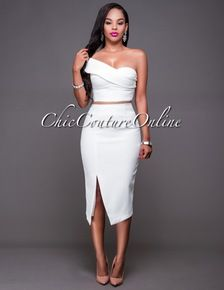 Jerika Off-White One Shoulder Two Piece Set