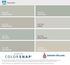 paint colors Silver Strand, Mindful gray, Oyster Pearl, Passive Gray, and Intellectual Gray Matching Paint Colors, Grey Paint Colors, Interior Paint Colors, Wall Colors, Gray Paint, Interior Design, Exterior House Colors, Exterior Paint, Sw 7036