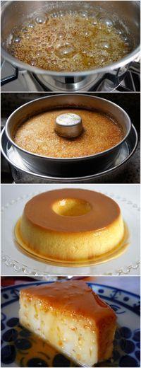 FAÇA ESSE PUDIM E TODA SUA FAMÍLIA VAI TE ELOGIAR MUITO BOM!! VEJA AQUI>>>Para a calda, numa panela, dissolva o açúcar na água. Leve ao fogo baixo por mais ou menos 20 minutos, sem mexer, ou até obter um caramelo dourado. Espalhe em uma forma de burado no meio de mais ou menos 22 cm e reserve. #receita#bolo#torta#doce#sobremesa#aniversario#pudim#mousse#pave#Cheesecake#chocolate#confeitaria Portuguese Desserts, Portuguese Recipes, Flan, Cake Shop, Cake Cookies, Sweet Recipes, Bakery, Deserts, Food And Drink