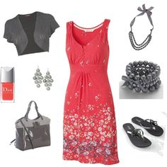 Coral and gray-Vacation outfit
