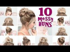 (29) 10 MESSY BUN hairstyles for BACK TO SCHOOL ❤ Quick and easy hair tutorial - YouTube
