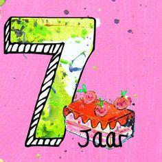 Verjaardagskaart 7 jaar meisje - Verjaardagskaarten - Kaartje2go