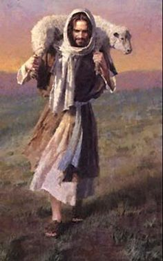 Jesus carries Lamb shoulders | Jesus Christ With Lamb On Shoulders A sheep on his shoulders.