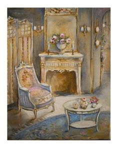 Interior oil painting- Paris apartment - Blue & gold drawing room Marie Antoinette © Atelier Flont- Roses & Other seasons Gold Drawing, Painting & Drawing, Drawing Room, Marie Antoinette, Romantic Cottage, Romantic Roses, Shabby Chic Art, Daily Painters, Country Art