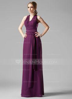 Sheath/Column V-neck Floor-Length Ruffle Zipper Up Crossed Straps Regular Straps Sleeveless No Grape Fall General Plus Chiffon Bridesmaid Dress
