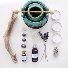 Oil Burner, Amethyst Crystal Set by MabelandMillar on Etsy https://www.etsy.com/uk/listing/275736920/oil-burner-amethyst-crystal-set