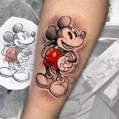 Cores pra vocês com & Mr. Tattoo Artwork, S Tattoo, Tattoo Shop, Sleeve Tattoos, Mickey Tattoo, Mickey Mouse Tattoos, Disney Tattoos, Life Tattoos, New Tattoos