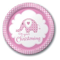 "Pink Elephant On Your Christening 9"" Paper Plates - 8pk"