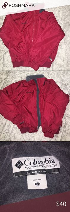 """Fleece lined Columbia jacket Great used condition! Men's fleece lined zippered jacket. No flaws, approximate measurements (laying flat) 26"""" shoulder to hem, 26"""" armpit to armpit - size medium. Made from a water resistant fabric- adjustable cuffs Columbia Jackets & Coats"""