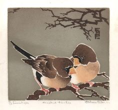 Masked Finches c1936 ~ Colour linocut ~ Ethleen Palmer