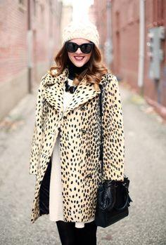 What I Wore   Newly Knit, Cheetah Coat, Beanie, @Jessica Quirk, whatiwore.tumblr.com