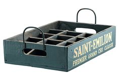Barreveld Wood Saint-Emilion Bottle Tray (use for picnic parties for silverware, napkins, fruit salad cup tray,...)