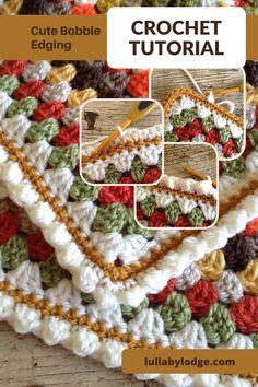Pretty crochet edging tutorial by Lullaby Lodge... Crochet Edging Patterns Free, Crochet Edging Tutorial, Crochet Borders, Crochet Edgings, Crochet Tutorials, Crochet Stitches, Crochet Projects, Bobble Stitch Crochet, Crochet Mitts