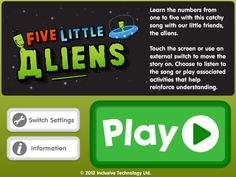 $2.99 Learn the numbers from one to five with this counting song. The song and animation stop at the end of each verse and you can use a switch or touch the screen to play the next verse.    Clear graphics, which include the numbers and words to sing along with and high quality voice over to encourage correct pronunciation of the number names. The follow-up activities give lots of opportunities to see numbers and hear number names.    • Counting up – touch the screen or press a switch to