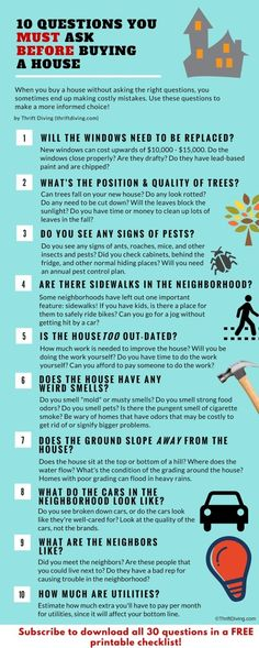 10 Questions You Must Ask Before Buying a House. Home Buying Tips. Home Selling Tips, Home Buying Tips, Home Buying Process, Home Buying Checklist, First Home Checklist, Building A House Checklist, New House Checklist, Moving Checklist, Buying First Home