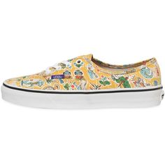 VANS Authentic Alice In Wonderland Sneakers - Yellow/Multi (895 MXN) ❤ liked on Polyvore featuring shoes, sneakers, vans, yellow shoes, vans footwear, vans sneakers, rubber sole shoes en yellow sneakers
