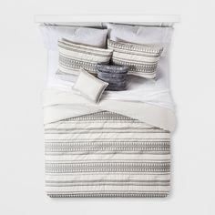 Cream Tatiana Global Woven Stripe Cotton Comforter Set 5pc : Target