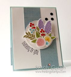 Using Wplus9 Fresh Cut Florals stamps and dies, Authentique Renew paper and black sequins from IHP! Sarah Gough www.thinkingstamps.com