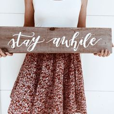 "Handmade Lettering ""Stay Awhile"" Wood Sign Would be cute for a guest bedroom in the home Wood Crafts, Diy Crafts, Guest Bedrooms, Guest Room, Guest Bath, Pallet Art, Diy Signs, Do It Yourself Home, Home Projects"