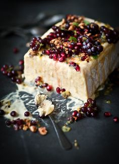 Mango, Nectarine and Passionfruit Semifreddo, with fresh berries and Pomegranate Seeds