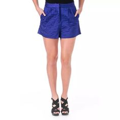 ELIZABETH AND JAMES Jody Blue Satin Quilted Shorts Manufacturer: Elizabeth and James Size: 2 Size Origin: US Manufacturer Color: Royal Blue Retail: $350.00 Condition: New with tags Collection: Elizabeth and James Bottom Closure: Hook/Bar Zip Fly Waist Across: 13 1/2 Inches Inseam: 2 1/2 Inches Rise: 12 Inches Front Style: Pleated Back Pockets: Slit Pockets Material: 100% Viscose/Lining 100% Polyester Fabric Type: Satin Specialty: Lined Elizabeth and James Shorts