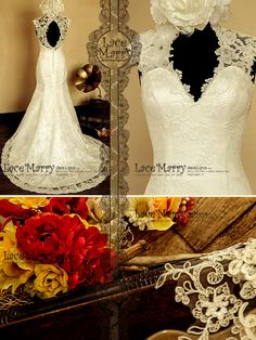 Lace Wedding Dress Features Illusion Deep V-Cut Neckline and Key Hole Open Back with Scalloped Edges by LaceMarry on Etsy https://www.etsy.com/listing/123409495/lace-wedding-dress-features-illusion