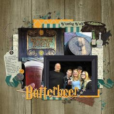 Harry Potter Costumes ~Butterbeer~ by Annette Pixley, using World of Wizards by Magical Scraps Galore. Harry Potter Scrapbook, Disney Scrapbook, Travel Scrapbook, Scrapbook Page Layouts, Scrapbook Pages, Scrapbooking Ideas, Digital Scrapbooking, Travel Design, Universal Studios