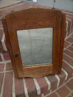 OLD VINTAGE PRIMITIVE WOOD WALL MOUNT MEDICINE CABINET SHELVES SKELETON KEY LOCK #PRIMITIVE #unknown