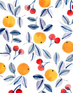 citrus fruit orange pattern / wallpaper / background / design / art