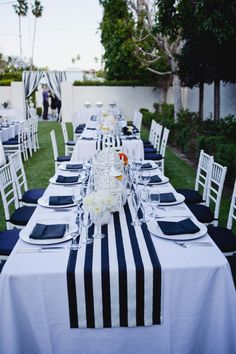 navy blue and white striped tablecloth table runner Cotton stripped wedding tablecloth nautical black and white beach wedding decor by FantasyFabricDesigns on Etsy Table Nautique, Deco Theme Marin, Palm Springs, Mantel Azul, Wedding Tablecloths, Striped Table Runner, Wedding Decorations, Table Decorations, Wedding Centerpieces