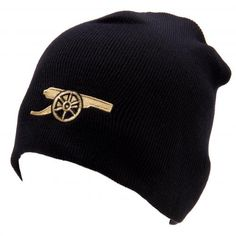 c32fa7c6bcc Adult s knitted Arsenal FC hat in navy and featuring the iconic cannon crest  on the front