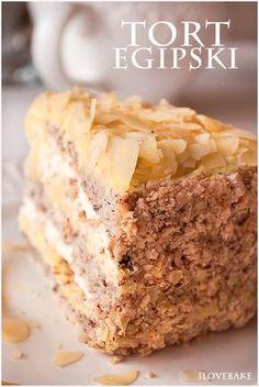 Tort egipski/ layer custard cake Sweet Recipes, Cake Recipes, Custard Cake, Polish Recipes, Sweet Life, Banana Bread, Sweet Tooth, Oreo, Cheesecake