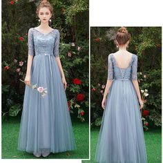May 2020 - Affordable Sky Blue See-through Bridesmaid Dresses 2019 A-Line / Princess Sleeves Sash Appliques Lace Floor-Length / Long Ruffle Wedding Party Dresses Ball Dresses, Evening Dresses, Baju Kurung Lace, Bridesmaid Dresses Long Blue, Bridesmaids, Dusty Blue Dress, Himmelblau, Affordable Dresses, Wedding Party Dresses