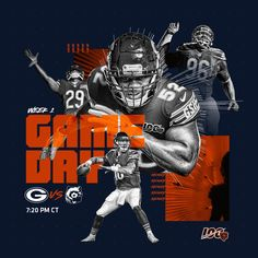 Chicago Bears on Twi Sports Day, Sports Basketball, Sport Football, Sports Graphic Design, Sport Design, Football Banner, Sports Graphics, Print Layout, Chicago Bears