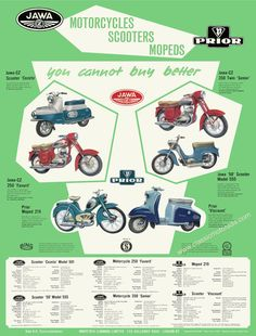 Classic Jawa & Prior motorcycle poster. Reproduced the original 1960 sales sheet