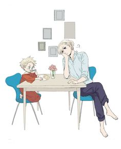 Tags: Anime, Chair, Table, Axis Powers: Hetalia, Denmark, Norway, Crossed Legs