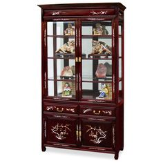40in Rosewood Mother of Pearl Inlaid Curio Cabinet. A grand curio cabinet to display your treasured collectibles. Hand inlaid mother of pearl flowers decorated the entire cabinet. Made of solid rosewood with traditional joinery techniques by artisans in China. Mirror, lights, and three adjustable shelves for the upper cabinet. Two doors and two drawers in the lower portion providing ample storage space for your convenience. Curio display cabinet.