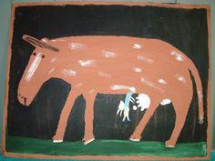 Orange Hill Folk Art Gallery and Outsider Art Gallery - Jimmy Lee Sudduth - Man Miliking a Cow